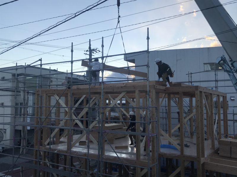 建て方 対角にひらく家 松本市