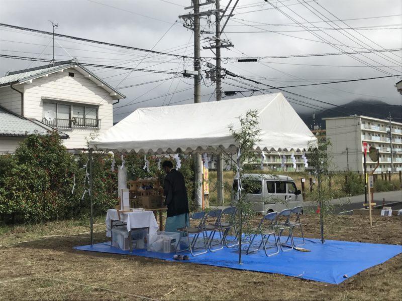 地鎮祭「東西にひろがる家」松本市