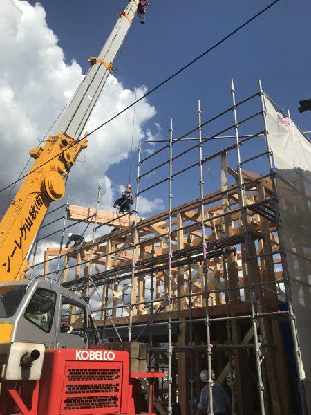 建て方 松本市の住宅「らせんが繋ぐ4層の家 」