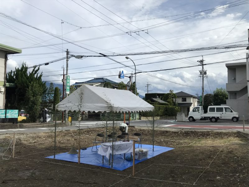 地鎮祭「対角にひらく家」松本市