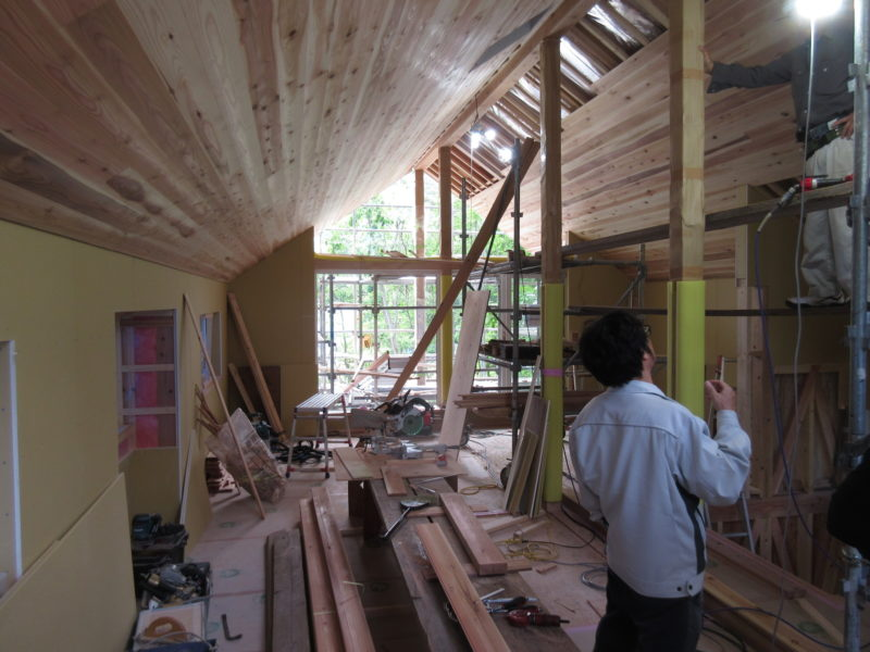 白馬の別荘設計 天井の板張り