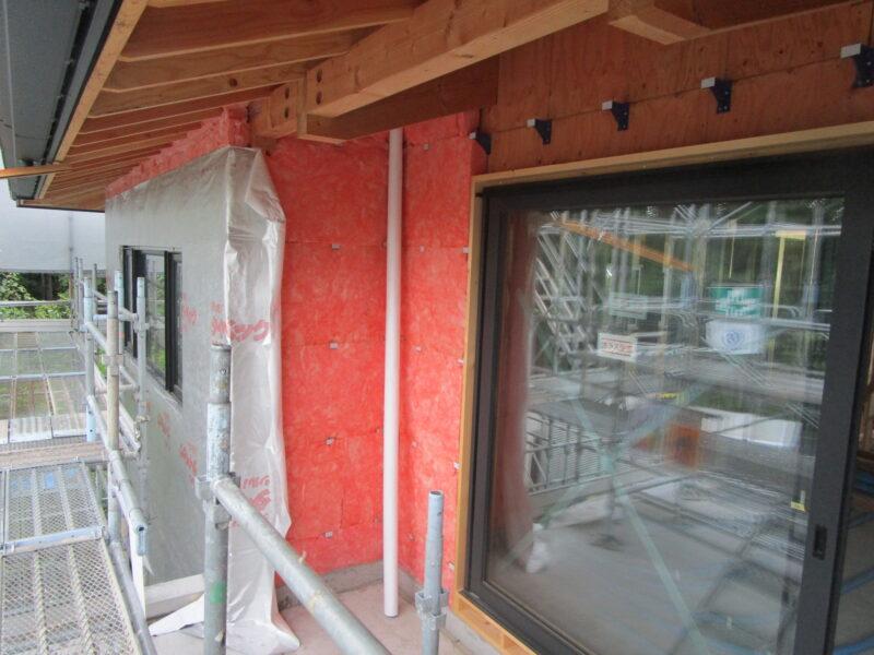 2階木造部分の外張り断熱 軽井沢