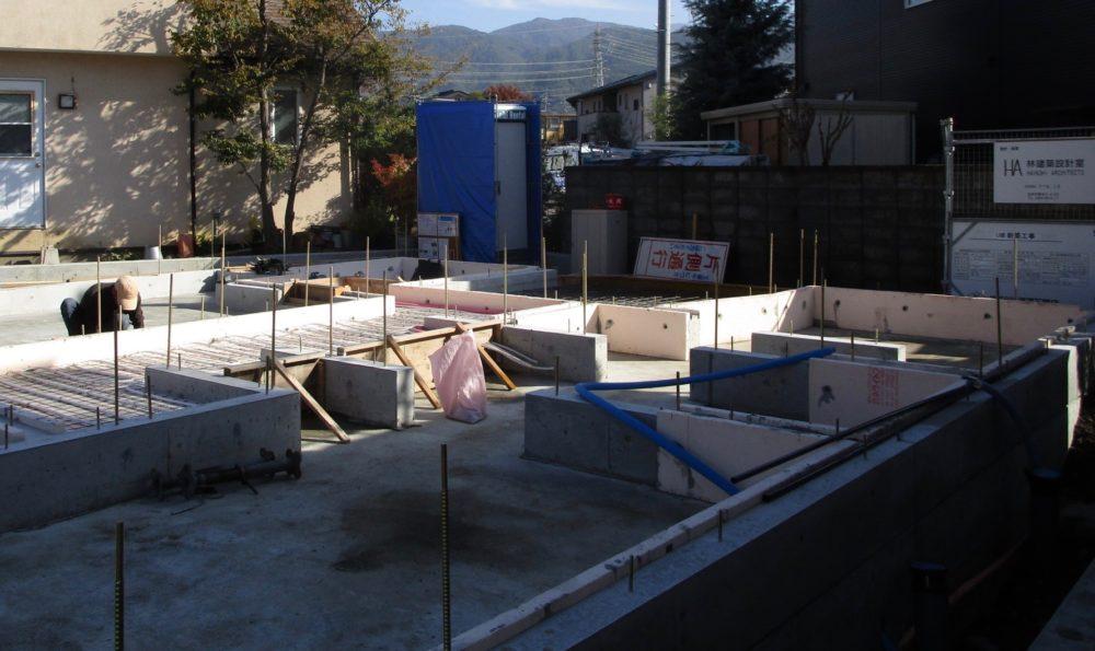 通り土間の家 松本市 基礎工事