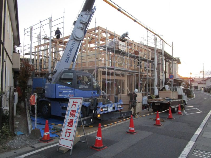 通り土間の家 上棟 松本市